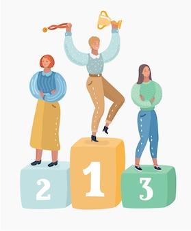 Três personagens femininas no pedestal.