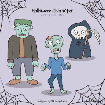 Três personagens típicos de halloween em um estilo desenhado à mão