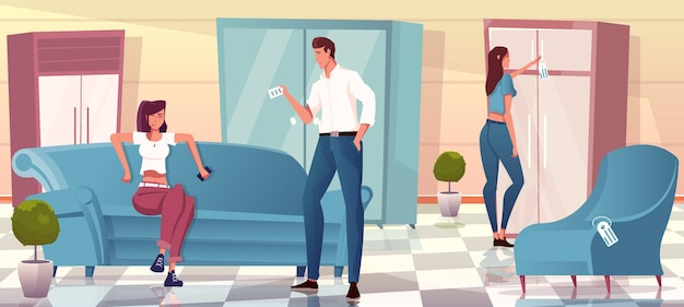 Três pessoas escolhendo sofá guarda-roupa poltrona em loja de móveis apartamento
