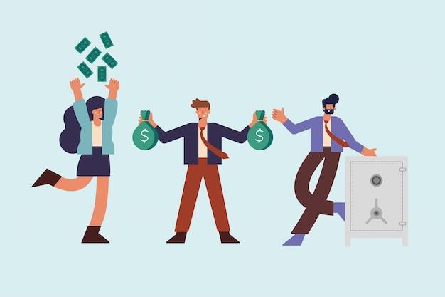 Três pessoas ricas com dinheiro