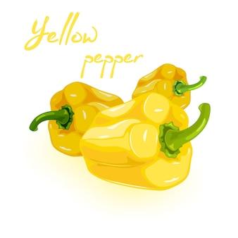 Três pimentões ou pimentões amarelos com hastes verdes
