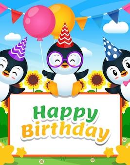 Três pinguins felizes com banner de feliz aniversário