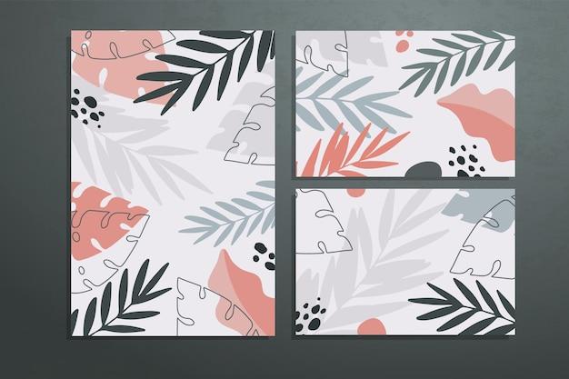 Três pôsteres com folhas e formas botânicas abstratas