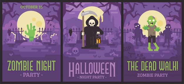 Três pôsteres de halloween com cenas de cemitério