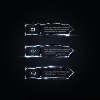 Três pulsos elétricos ou etapas de relâmpagos vetoriais setas de botões à direita das opções