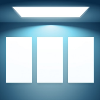 Três quadros de apresentação com luzes