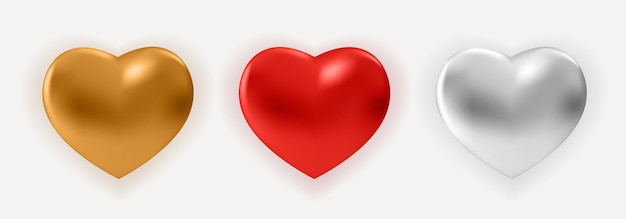 Três realistic golden, red e silver glossy metal heart. 3d