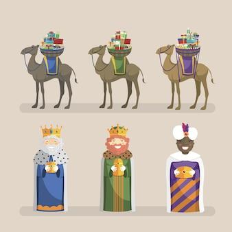 Três reis com conjunto de camelos e presentes