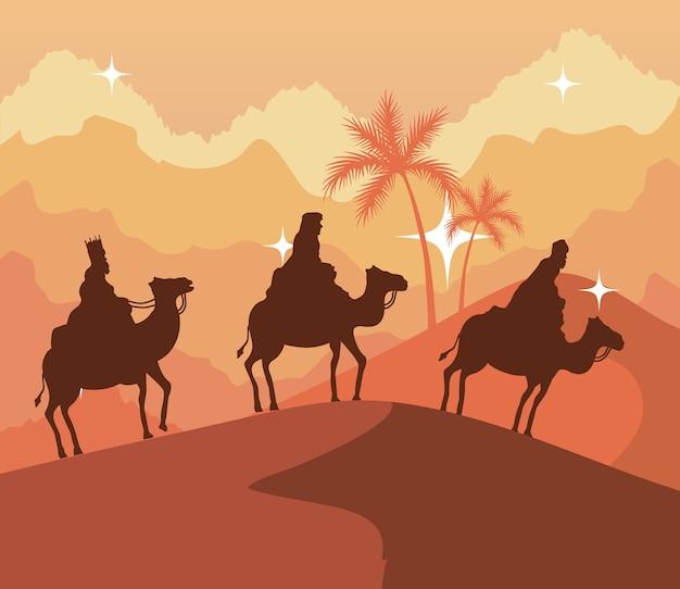 Três reis magos da natividade no deserto em um design de fundo laranja, tema de feliz natal