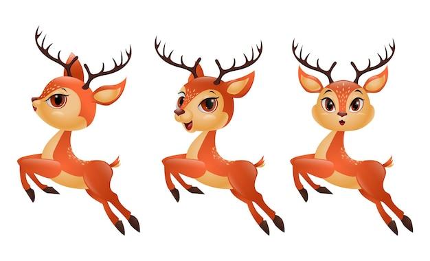 Três renas de desenho animado pulando