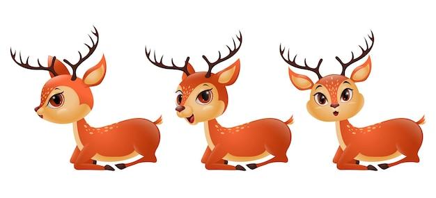 Três renas de desenho animado sentado