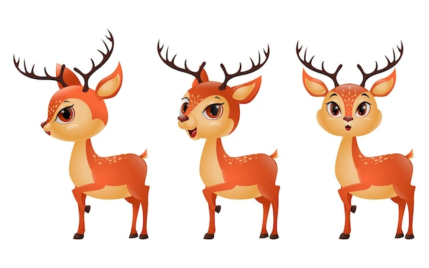 Três renas de desenho animado