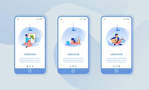 Três smartphones com o passatempo dos povos das imagens