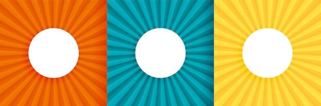 Três sol estourar o fundo conjunto com espaço de texto