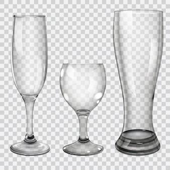 Três taças de vidro transparente para vinho, champanhe e cerveja. em fundo quadriculado.