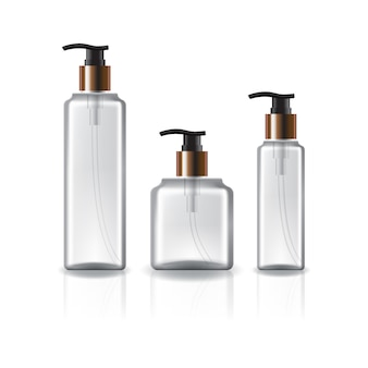 Três tamanhos de garrafa cosmética quadrada