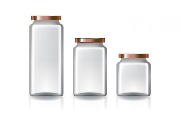 Três tamanhos do frasco quadrado desobstruído em branco com a tampa lisa de cobre.