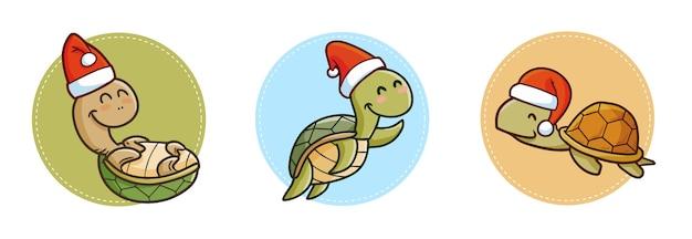Três tartarugas kawaii engraçadas e fofas usando chapéu de papai noel no natal