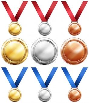 Três tipos de medalhas com fita vermelha e azul