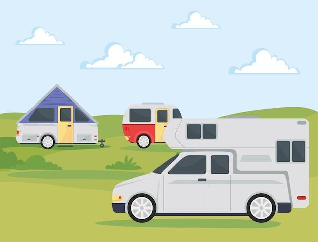Três trailers de campismo