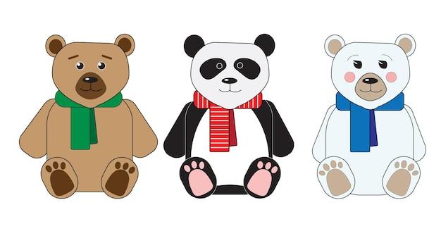 Três ursinhos de pelúcia panda urso polar de pelúcia sentado em lenços multicoloridos