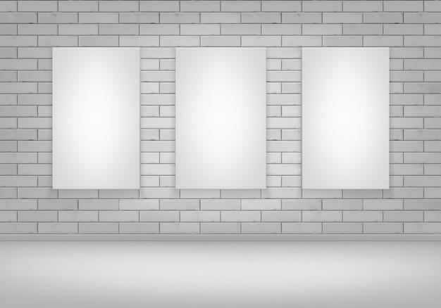 Três vazios em branco branco mock up pôster porta-retratos