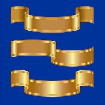 Três versões de cintos dourados brilhantes com duas listras