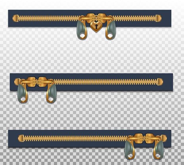 Três zíperes para roupas, em dois fechos, fechados. cor dourada isolada em um transparente