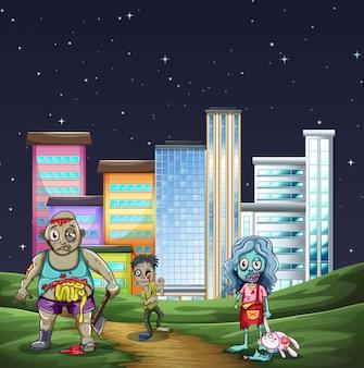Três zumbis andando no parque à noite