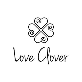 Trevo com amor coração espiral contorno simples e elegante logotipo moderno modelo de vetor
