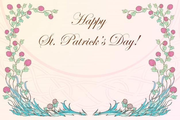 Trevo-de-rosa em flor e ornamento de tecido celta tradicional. dia de são patrício design festivo.