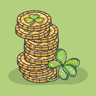 Trevos, moedas ouro, para, st, patrick, celebração