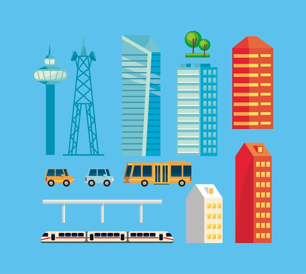 Treze ícones de cidades inteligentes
