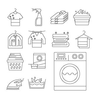 Treze ícones de conjunto de serviços de lavanderia