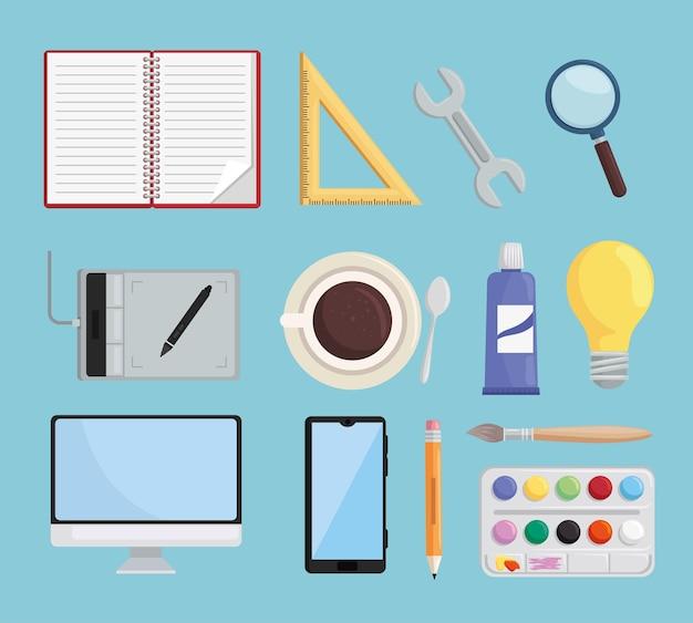 Treze ícones de projetos de arte