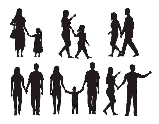 Treze silhuetas de família