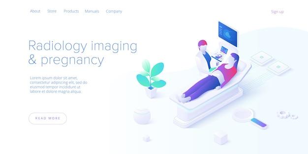 Triagem de ultrassom de gravidez em desenho vetorial isométrica. procedimento de varredura de imagens de radiologia com pfemale médica e paciente. ultrassonografia médica de saúde. modelo de layout de banner da web para o site.