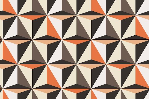 Triângulo 3d padrão geométrico vetorial fundo laranja em estilo abstrato