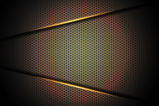 Triângulo abstrato da luz alaranjada do amarelo da seta no preto com ilustração futurista moderna do fundo da tecnologia do projeto da malha do hexágono.