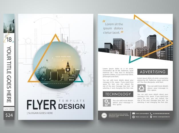 Triângulo abstrato na carteira de livro de capa no projeto de layout