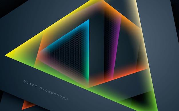 Triângulo abstrato sobrepõe camadas com fundo claro colorido