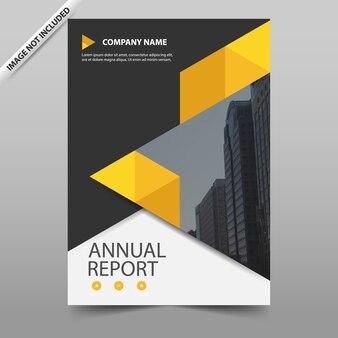 Triângulo amarelo vector relatório anual folheto folheto flyer modelo de design