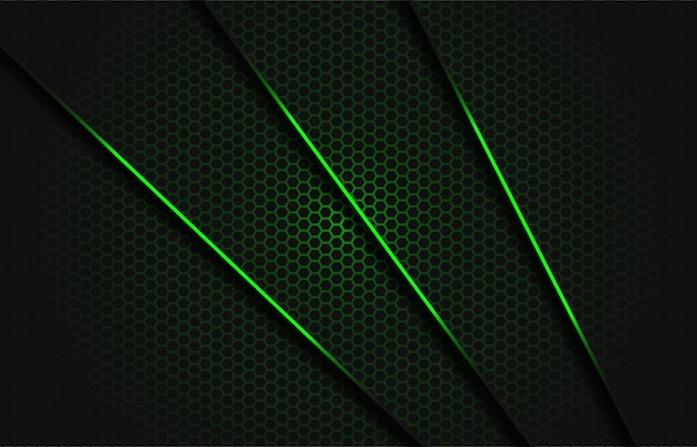 Triângulo cinza escuro com barra verde abstrato com linha verde no padrão de malha hexagonal