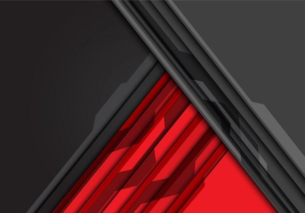 Triângulo cinzento vermelho com teste padrão do circuito e fundo do espaço vazio.