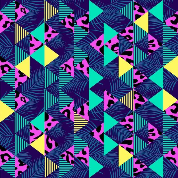 Triângulo colorido sem costura padrão vector com pele de leopardo