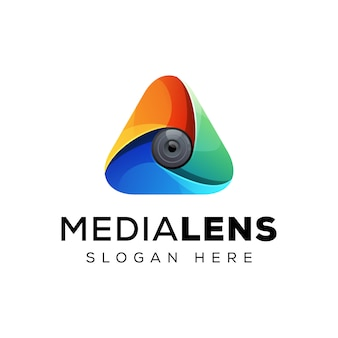 Triângulo com conceito de logotipo de lente, design de logotipo colorido triângulo