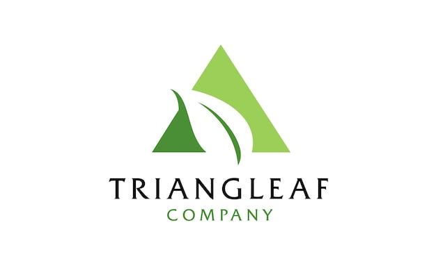 Triângulo com design de logotipo de folha