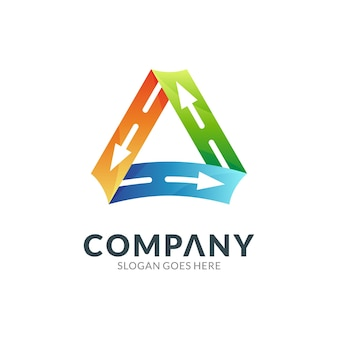 Triângulo com setas modelo de logotipo gradiente colorido 3d