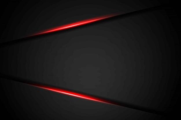 Triângulo de luz vermelha seta cinza escuro abstrato em preto com fundo futurista moderno de espaço em branco