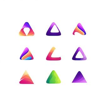 Triângulo definir design de logotipo de cor gradiente
